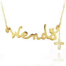 Personalized Handmade Name Necklace with Diamond Imitation Beading