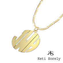 Personalized Block Monogram Necklace with 24K Gold  for Men