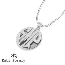 Personalized Block  Double Monogram Necklace  for Men