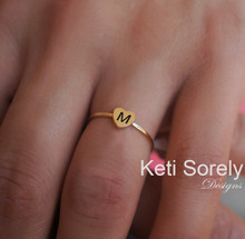 Engraved Small Heart Initial Ring - Solid Gold