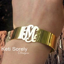 Personalized Cuff Bangle with Monogrammed Initials - Choose Your Metal