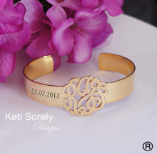 Cuff Bangle with Handcrafted Monogrammed Initials - Alloy w/Gold Overlay