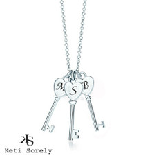 Heart Key Charm Necklace with Family Initials