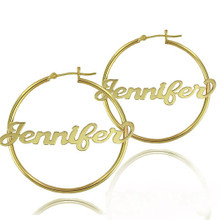 Personalized Hoop Name Earrings -  Choose Metal
