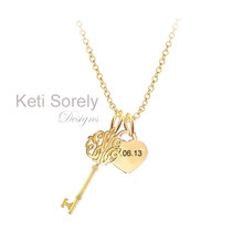 Monogrammed Initials Key Pendant with Heart Charm  - Silver with Yellow Gold