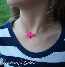 Celebrity Style Pink Sideways Cross Necklace with Gold Chain