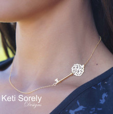 Sideways Key Necklace With Monogrammed Initials - Yellow, Rose or White Gold