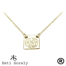 Hand Engraved Square Monogram Necklace  - Yellow Gold