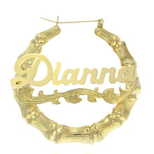 Celebrity Style Bamboo Name Earrings with Yellow or Rose Gold