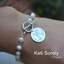 Freshwater Pearl Bracelet with Engraved Monogram Disc & Toggle Clasp - Choose Your Metal