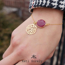 Red Ruby Bracelet with Monogram Initials Charm -18k Gold Vermeil