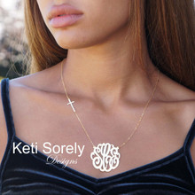 Script Monogram Necklace with Sideways Cross - Sterling Silver or Solid Karat Gold