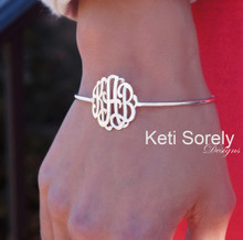 Personalized Designer Bangle with Handcrafted Initials - Sterling SIlver
