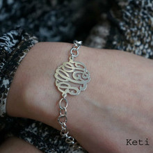 Personalized Initial Monogram Bracelet with Large Link Chain - Silver