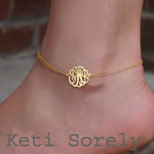 Personalized Monogram Initials Anklet - Yellow Gold