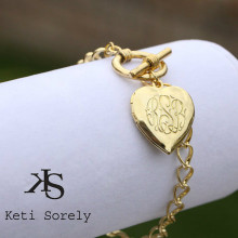 Hand Engraved Locket  Bracelet with Monogrammed Initials - Choose Your Metal