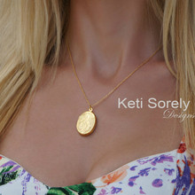 Hand Engraved Monogram Initial Locket - Yellow Gold