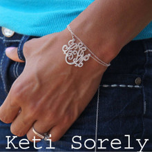 Handmade Monogrammed Initials Bracelet Double Chain - White Gold
