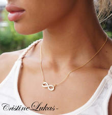 Infinity Necklace with CZ stones - Yellow Gold