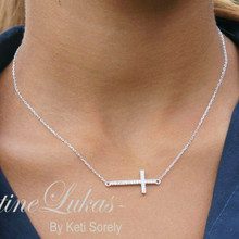 Celebrity style Sideways Cross Necklace with CZ Stones - Silver or Solid White Gold