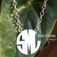 Modern Letter Monogram Necklace With Large Link Chain - Silver, Yellow or Rose Gold