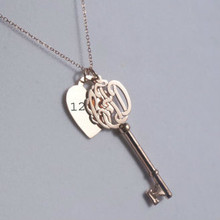 Monogrammed Initials Key Pendant with Engraved Heart & Lock Charm  - Yellow, Rose or White Gold