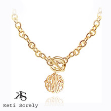 Monogrammed Initials Necklace with Large Link Chain - 24K Gold with Sterling Silver