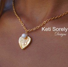 Engraved Locket  Necklace w/ Monogrammed Initials & White Pearl - Choose Your Metal