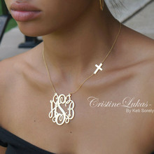 Script Monogram Necklace with Celebrity Sideways Cross -  Sterling Silver or Solid Karat Gold