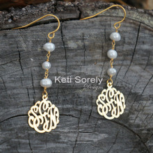 Handmade Pearl Earrings with Monogrammed Initials - Yellow, Rose or White Gold over Sterling Silver