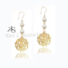 Handmade Pearl Earrings with Monogrammed Initials - Gold