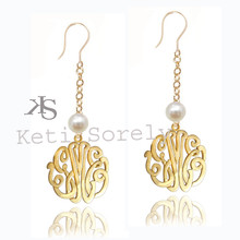 Handmade Pearl Bead Earrings with Monogrammed Initials
