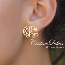 Handmade Monogrammed Initials Earrings - Choose Metal