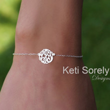 Monogrammed Initials Bracelet Or Anklet in Sterling Silver or Solid Gold