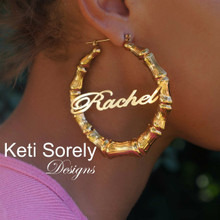 Celebrity Style Bamboo Earrings with Script Font - Name Earrings
