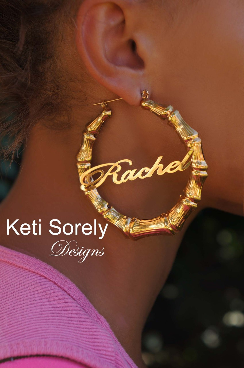 Celebrity Style Personalized Name Earrings With 24k Gold