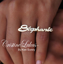 Celebrity Style Handcrafted Knuckle Script Name Ring - Yellow Gold