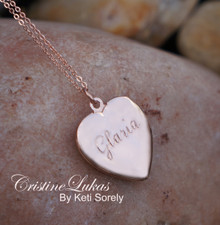 Hand Engraved Heart Name Locket - Choose Your Metal