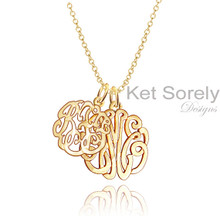 Mother and Child Initials Monogrammed Necklace - Gold