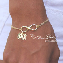 Infinity Bracelet or Anklet with Monogrammed Initials Charm - Interlocking Initials
