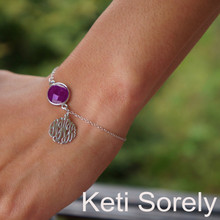 Amethyst Gemstone Bracelet with Monogram Initials Charm - Sterling Silver