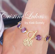 Amethyst Gemstone Bracelet with Monogram Initials Charm