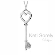 Heart Key Pendant with Hand Crafted Initials - White