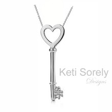 Heart Key Necklace with Hand Crafted Initials - White