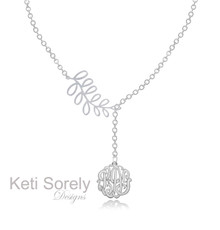 Monogram Necklace with Leafy Branch - White