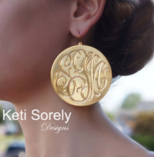 Hand Engraved Monogram Initial Disc Earrings - Yellow Gold