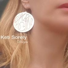 Hand Engraved Monogram Initial Disc Earrings - Choose Metal