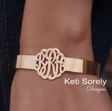 Personalized Cuff Bangle with Handcrafted Monogrammed Initials - Choose Your Metal