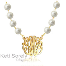 Freshwater Pearl Necklace with Monogrammed Initials - 18K Gold Vermail