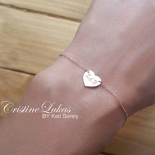 Engraved Dainty Heart Bracelet or Anklet with Script Initials - Choose Your Metal